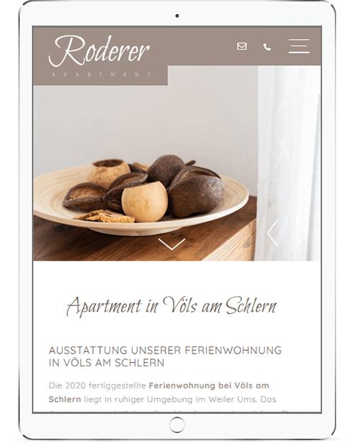 Einfache Webseite für Zimmervermieter - Apartment Roderer