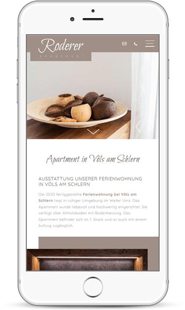 Webseite für Smartphone - Ferienwohnung Apartment Roderer