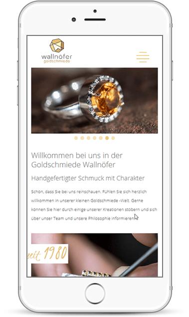 Webseite für Goldschmiede Wallnöfer - Handwerksbetrieb in Südtirol