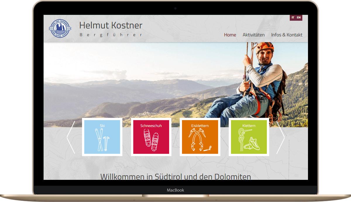 Webseite für Bergführer und Dienstleister in Südtirol - Helmut Kostner in Kastelruth