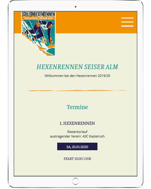 Webseite fürs Tablet der Hexenrennen Seiser Alm