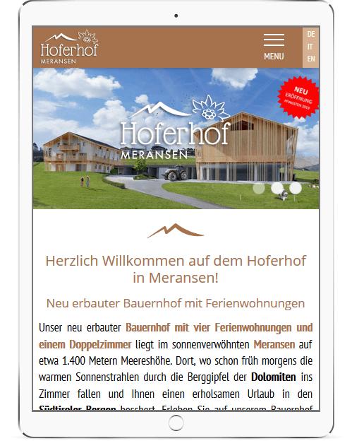 Webseite für den Hoferhof in Meransen - Urlaub auf den Bauernhof