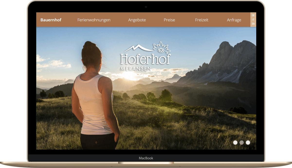 Webseite für den Hoferhof in Meransen - Urlaub auf dem Bauernhof