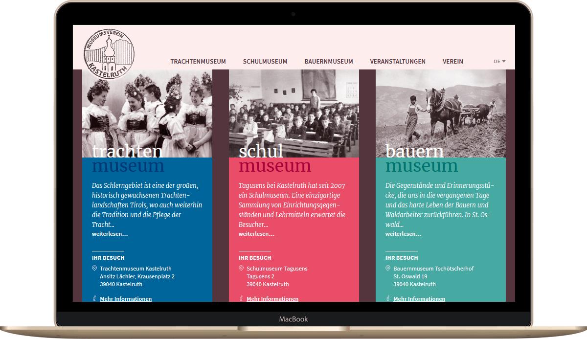 Webseite für Museumsverein Kastelruth Südtirol