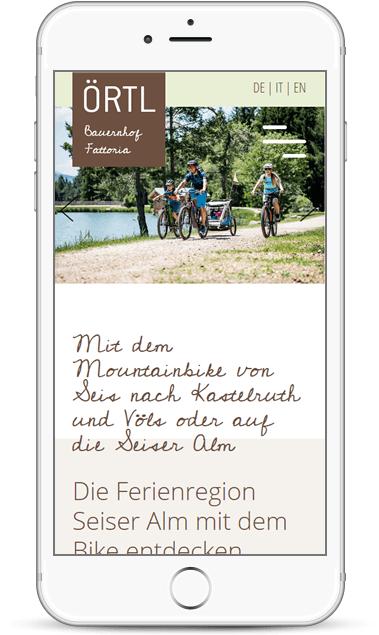 Webseite für Smartphones und Urlaub auf den Bauernhof Örtlhof in Seis am Schlern