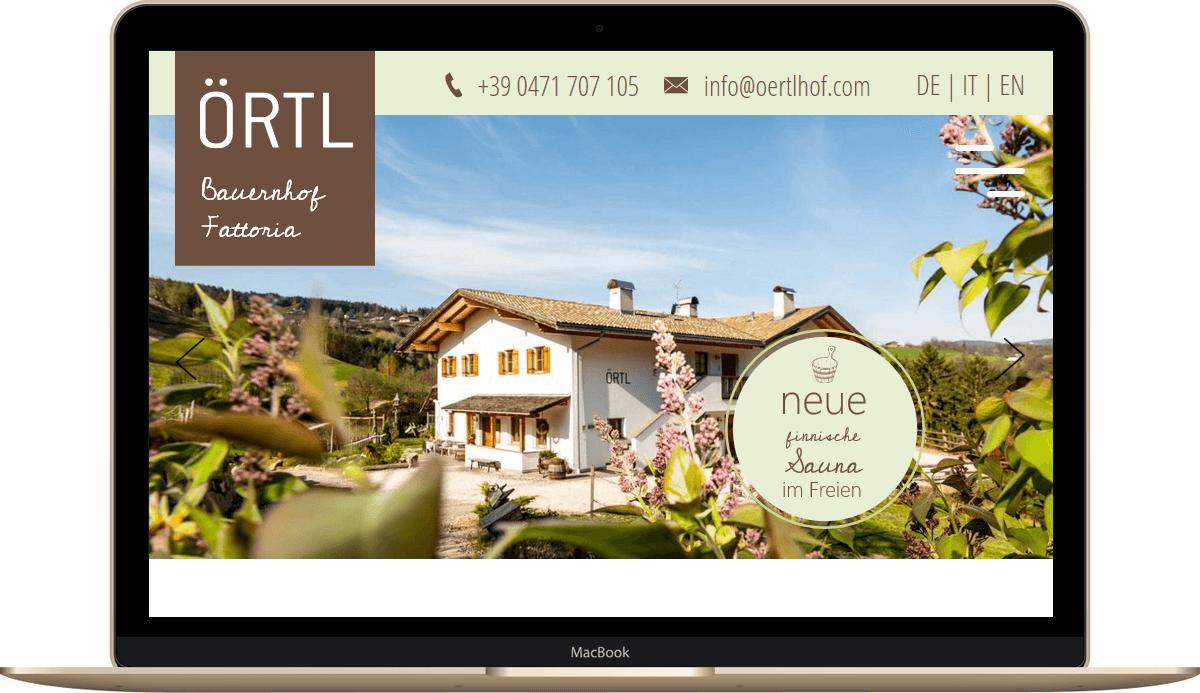 Webseite für Urlaub auf den Bauernhof Örtlhof in Seis am Schlern