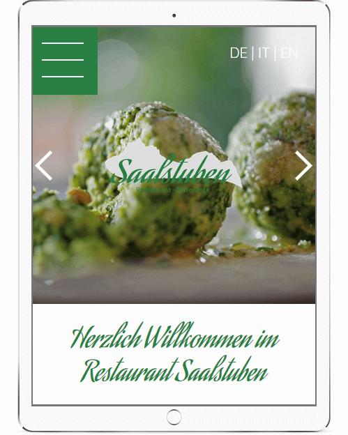 Webseite angepasst für Tablets für Restaurants in Südtirol
