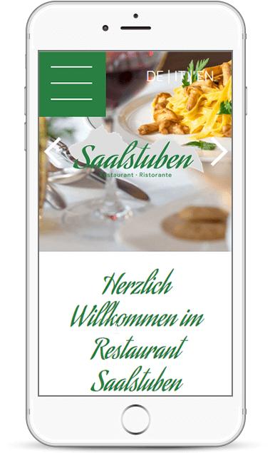 Onepage-Webseite für Restaurnat Saalstuben in Kastelruth