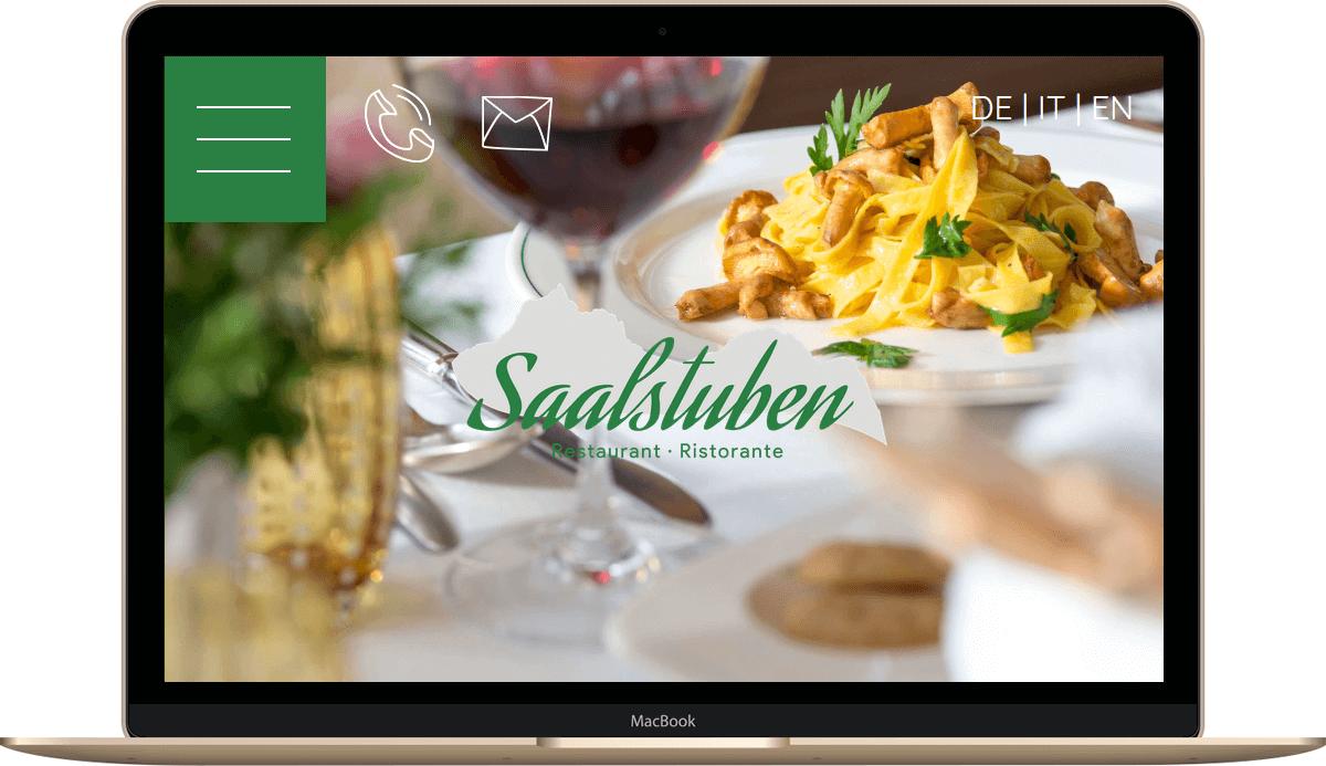 Webseite für Restaurants in Südtirol - Restaurant Saalstuben