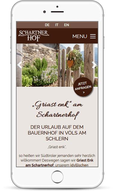 Webseite für Urlaub auf den Bauernhof Schartnerhof in Südtirol