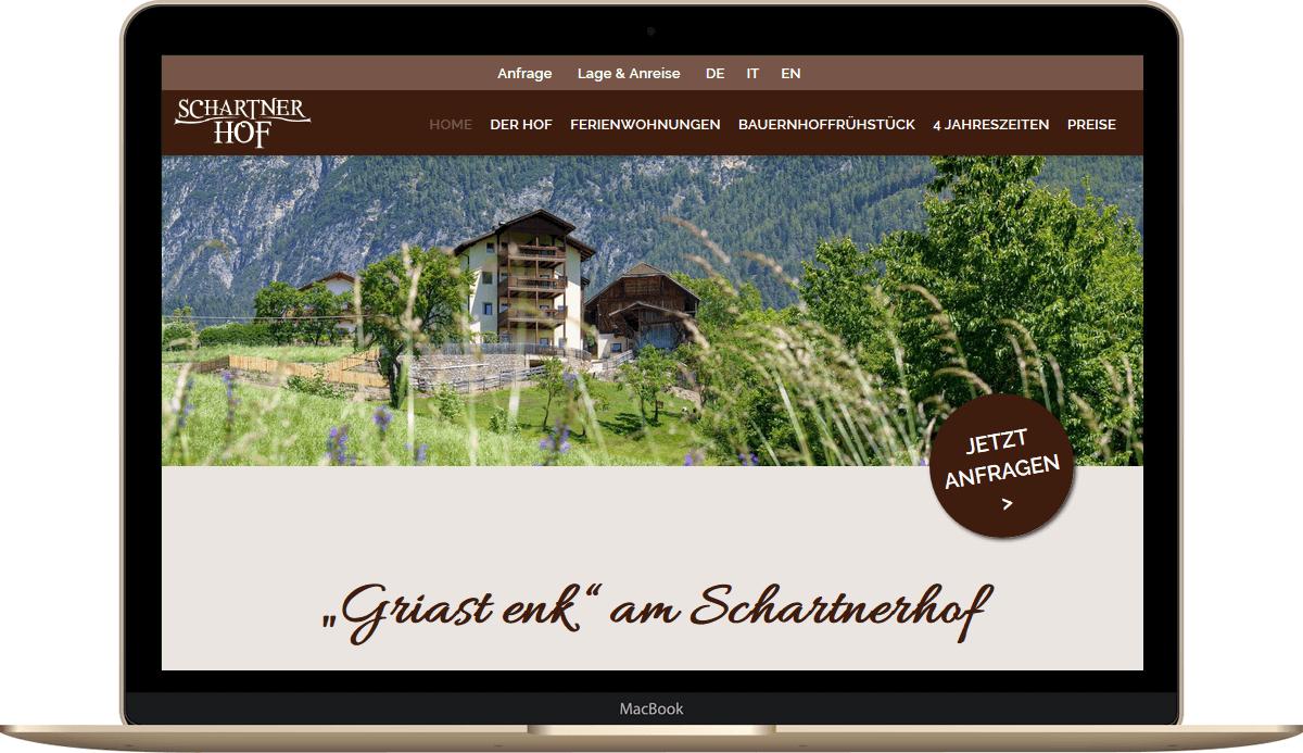 Webseite für Urlaub auf dem Bauernhof