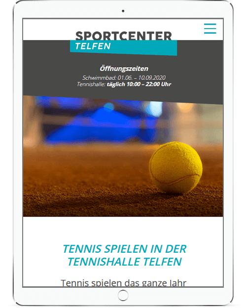 Webseite für Sportcenter Telfen mit Schwimmbad und Tennis