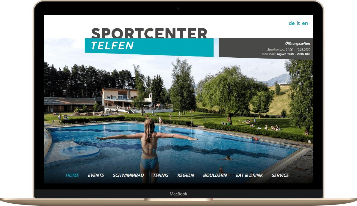 Webseite für Sportcenter Telfen