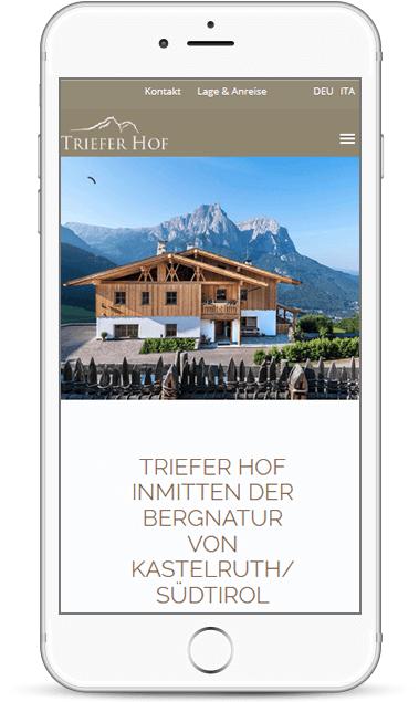 Webseite für den Trieferhof - Bauernhof in Kastelruth